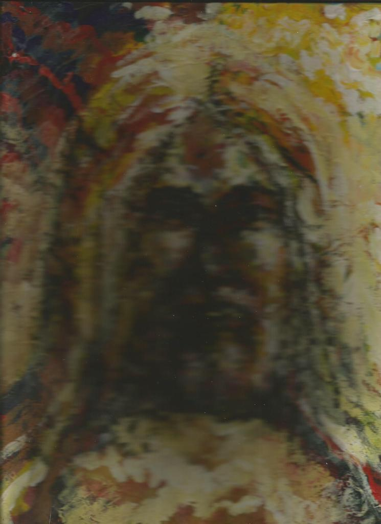 Some believe one shouldn't try to depict any deity (not arguing this here) in any medium. I drew two different illustrations to commemorate Easter, actually put on on the site. For about ten minutes. This is an acrylic I did several years ago on canvas board, a bit warped from leaning on the piano. I had to weigh down the top of the scanner to make it work. I'd regret the wasted time I spent on drawings I won't use, but, really, what I'd prefer, is more time to waste similarly.
