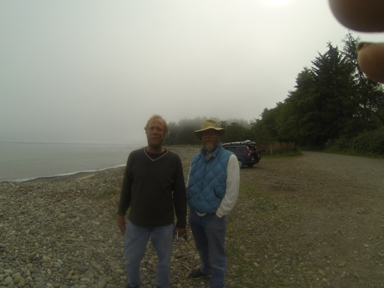 Port Townsend surfers Bob Simmons (no relation to That Bob Simmons) and Michael McCurdy (no relation to those PT McClearys) out on the farther Straits. See any waves? Me either.