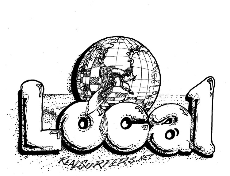 It's supposed to read 'world local.' I'll probably go back and put the globe into the lettering as I did in the lower graphic. And, since I have copies, I'll, no doubt, be coloring these two.